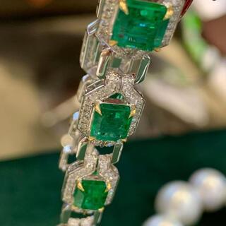 天然 エメラルド  ダイヤ  ブレスレット約5.9ct k18 ¥(ブレスレット/バングル)