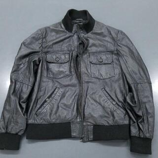 ザラ(ZARA)のZARA レザージャケット 羊革100% XL ブラック(レザージャケット)