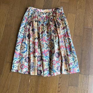 シルク フレアスカート(ひざ丈スカート)