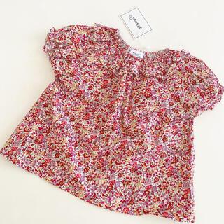 ボンポワン(Bonpoint)のベビー リバティ トップス ♡ 新品 半袖 フリル 90 キッズ チュニック(Tシャツ/カットソー)
