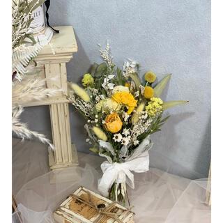 黄色とホワイトの花束ブーケスワッグ(ドライフラワー)