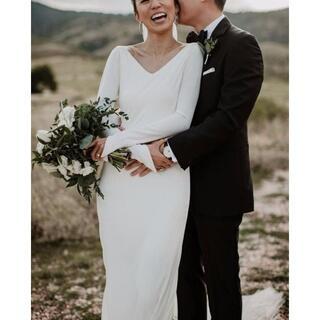 高品質!フランス風 ウエディングドレス 花嫁 /2次会  ホワイト Vネックドレ(ウェディングドレス)