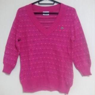 ラコステ(LACOSTE)のラコステ LACOSTEのカットソー ピンク pink ボーダー 水玉 ワッペン(ニット/セーター)
