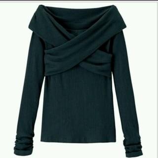 リュリュ(RyuRyu)の試着のみ⭐黒⭐クロスオフショルトップス⭐(Tシャツ(長袖/七分))