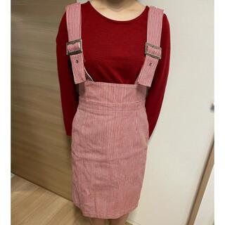 リルリリー(lilLilly)のリルリリー 赤 スカート サロペット(サロペット/オーバーオール)