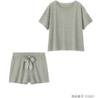 GU - GU リブラウンジセット パジャマ リボン グレー Mサイズ 半袖