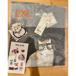 PAUL & JOE - UNIQLO ポール&ジョー 猫Tシャツ 2XL(XXL) シールとヘアゴム付き