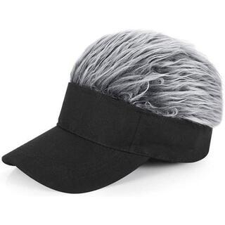 204銀 フレアバイザー ゴルフバイザー かつら ジョークグッズ コスプレ 帽子(サンバイザー)