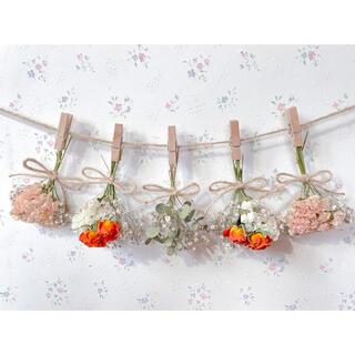 オレンジバラとかすみ草とユーカリのドライフラワーガーランド♡スワッグ♡ミニブーケ(ドライフラワー)