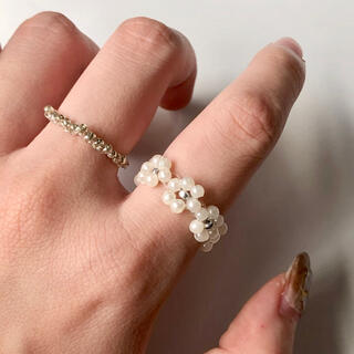 pearl flower silver ring 2pcs(リング)