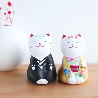 和装 2匹の猫の置物