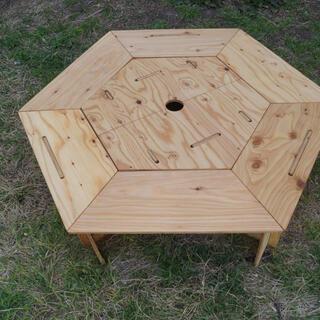 ヘキサゴンテーブル 中テーブルセット クリア塗装(アウトドアテーブル)