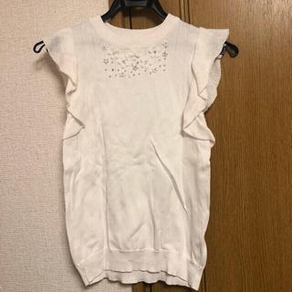 エルディープライム(LD prime)の新品未使用♡LDプライム お花フリルスリーブニット ホワイト(カットソー(半袖/袖なし))
