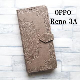 OPPO RENO3 A 曼荼羅 手帳型 ケース カバー グレイ