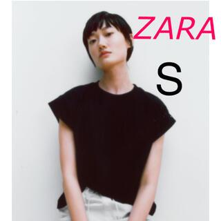 ZARA - 新品 ZARA  リブ編みTシャツ  ブラック Sサイズ
