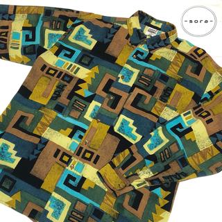アートヴィンテージ(ART VINTAGE)の【超奇抜デザイン】ビンテージ 長袖 シャツ 人気 レトロ感 総柄 ビックサイズ(シャツ)