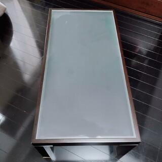 【美品】お値下 大塚家具 ガラス ローテーブル ウォルナット @東京(ローテーブル)