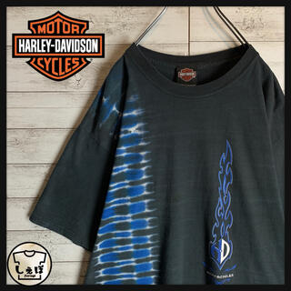 Harley Davidson - 【希少デザイン】ハーレーダビッドソン☆ファイヤーパターン人気Lサイズtシャツ定番