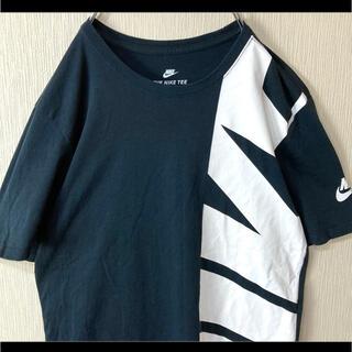 NIKE - NIKE ナイキ Tシャツ 半袖 ブラック でかロゴプリント 袖スウッシュ M