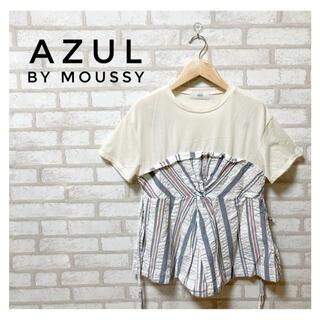 アズールバイマウジー(AZUL by moussy)のAZUL by MOUSSY レディース 切替プルオーバー M 白(カットソー(半袖/袖なし))