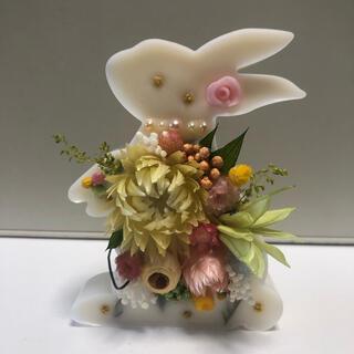 №352 置き型お花ウサちゃん✿ホワイト✿アロマワックスサシェ(アロマ/キャンドル)
