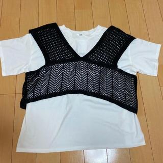 アベイル(Avail)の透かしVビスチェTシャツセット 黒 3L(Tシャツ/カットソー(半袖/袖なし))