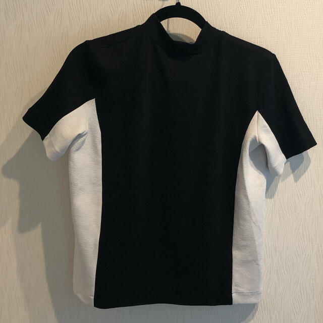 ZARA(ザラ)のZARA 切り替えハイネックカットソー レディースのトップス(Tシャツ(半袖/袖なし))の商品写真