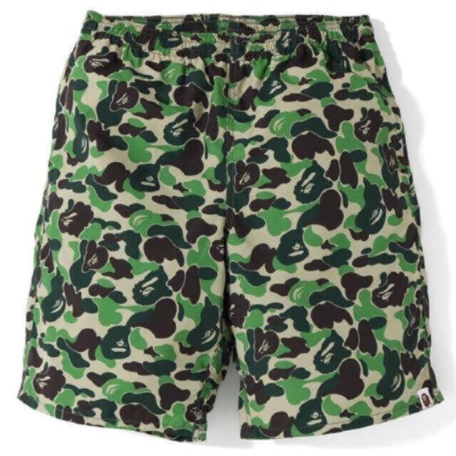 A BATHING APE(アベイシングエイプ)の【サイズL】BAPE:Beach Pants グリーンカモ ビーチ パンツ メンズのパンツ(ショートパンツ)の商品写真