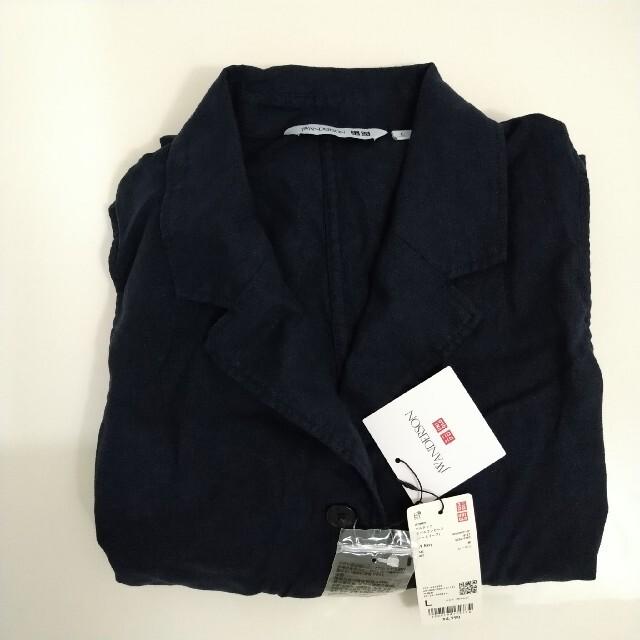 UNIQLO(ユニクロ)の最終1着 未使用タグ付 JWA ユニクロ ベルテッドラペルワンピース 紺 L レディースのワンピース(ロングワンピース/マキシワンピース)の商品写真