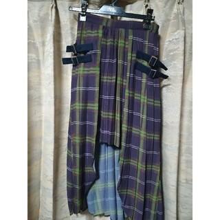 REDYAZEL - REDYAZEL オーバースカート付きチェックプリーツミニスカート