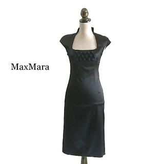 マックスマーラ(Max Mara)の高級 MaxMara マックスマーラ ピアノフォルテ ワンピース ブラック(ひざ丈ワンピース)