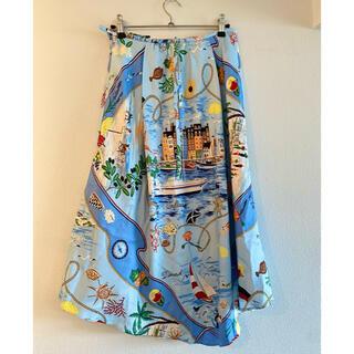 ケイタマルヤマ(KEITA MARUYAMA TOKYO PARIS)のケイタマルヤマ サマースカート プリント スカーフ ブルー 青(ひざ丈スカート)