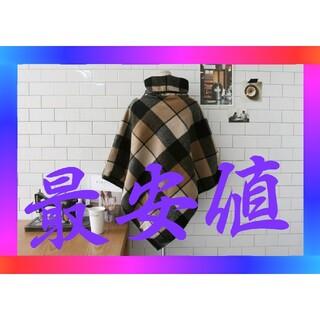 チェックポンチョ M 秋冬 秋服 冬服 かわいい オシャレ シック(ポンチョ)