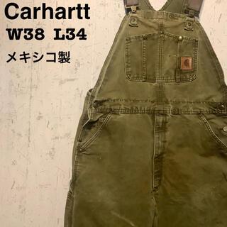カーハート(carhartt)のCarhartt  オーバーオール オリーブ 一点物 メキシコ製 W38(サロペット/オーバーオール)