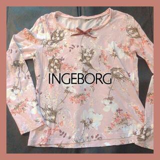 インゲボルグ(INGEBORG)の【美品】インゲボルグ 花柄カットソー トップス(カットソー(長袖/七分))