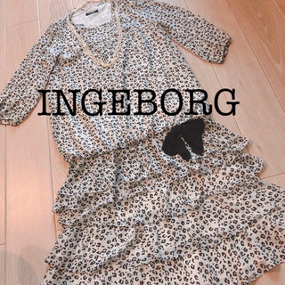 インゲボルグ(INGEBORG)の【新品】インゲボルグ チュニックワンピ 被せ段々スカート レオパード柄  セット(セット/コーデ)