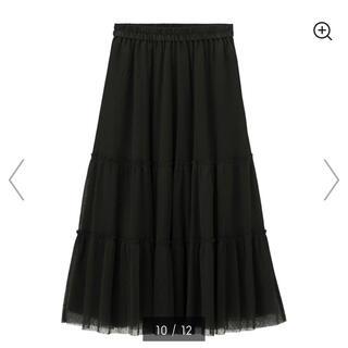 GU - GU チュールティアードミディアムスカート ブラック<新品>