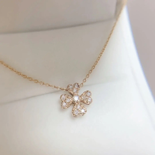 STAR JEWELRY - 【スタージュエリー】ネックレス K18 ピンクゴールド クローバー フラワー 花