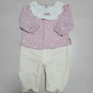 ニシマツヤ(西松屋)のベビー服 女の子 ロンパース スタイ付き 70~80サイズ(ロンパース)