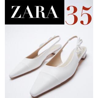 ザラ(ZARA)の【新品/未着用】ZARA サイドリボンフラットミュール サイドリボンミュール(ミュール)