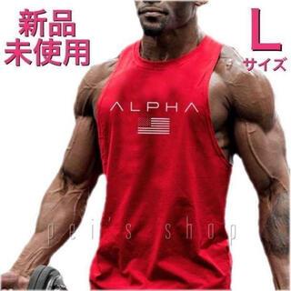 大特価!タンクトップメンズジム筋トレフィットネススポーツウェアLサイズ赤レッド(タンクトップ)