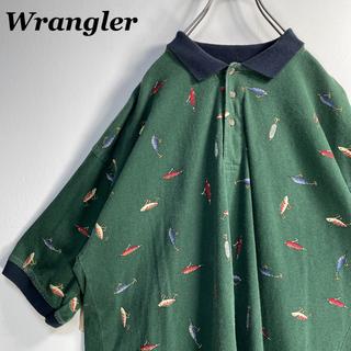 Wrangler - 【古着】希少 90s ラングラー 総柄 ルアー オーバーサイズ ポロシャツ XL