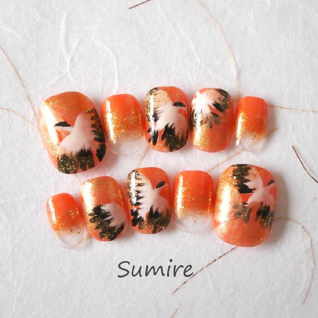 ネイルチップ和柄鶴 オレンジ ハンドメイドのアクセサリー(ネイルチップ)の商品写真