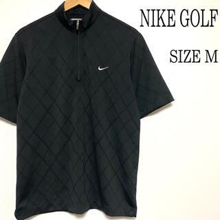 ナイキ(NIKE)の美品 NIKE GOLF ナイキ ハーフジップ ポロシャツ ゴルフウェア 黒 M(ウエア)