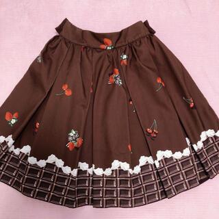 アンクルージュ(Ank Rouge)のアンクルージュ*チェリーベリーチョコレートスカート ブラウン(ひざ丈スカート)