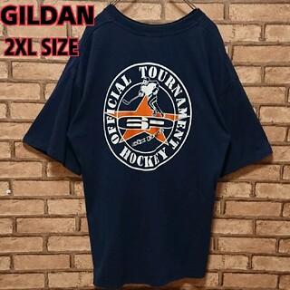 ギルタン(GILDAN)のGILDAN ギルダン バック プリント ネイビー 半袖 Tシャツ(Tシャツ/カットソー(半袖/袖なし))