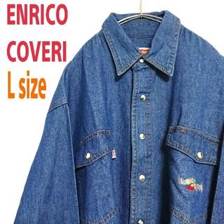エンリココベリ(ENRICO COVERI)のENRICO COVERI エンリコ コベリ ワンポイントロゴ デニムシャツ(シャツ)
