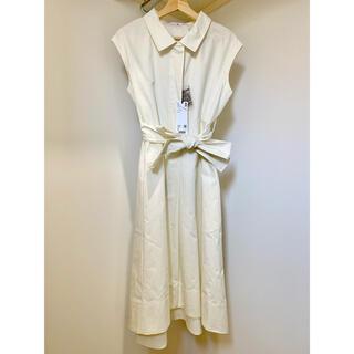 UNIQLO - コットンリネンフレンチスリーブロングワンピース(半袖)白 サイズS(日本仕様)