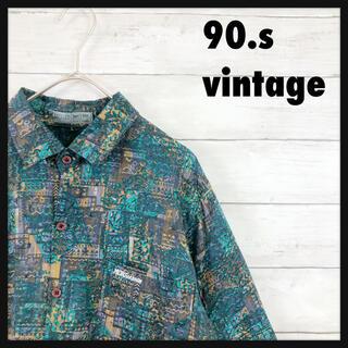 90.sビンテージ総柄シャツ 配色良好 レーヨンゆるだぼシャツ
