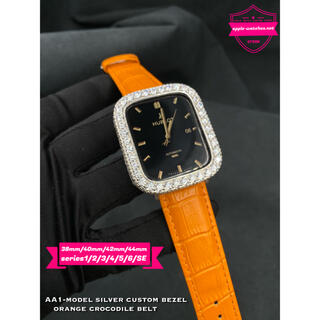 Apple Watch - 全アップルウォッチ用カスタムベゼル オレンジクロコベルトセット